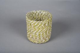 B020DQ Cache-pots en corde naturel et vert D15cm H15cm