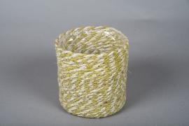 B021DQ Cache-pots en corde naturel et vert D17cm H17cm