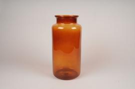 B022IH Vase en verre avec col ambre D15cm H35cm