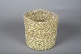 B023DQ Cache-pots en corde naturel et vert D21cm H20.5cm