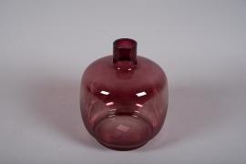 B025DQ Vase en verre obus rose D26cm H30cm