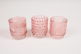 B026IH Photophore en verre assortis rose D7cm H8cm