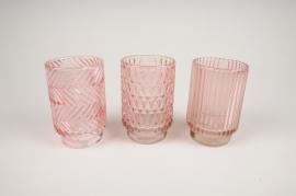 B028IH Photophore en verre rose assorti D8cm H13cm