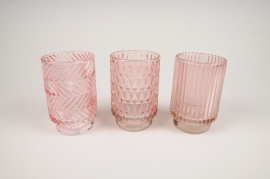 B028IH Pink glass light holder assorted D8cm H13cm
