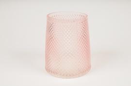 B032IH Pink glass vase D13cm H15cm