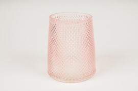 B032IH Vase en verre rose D13cm H15cm