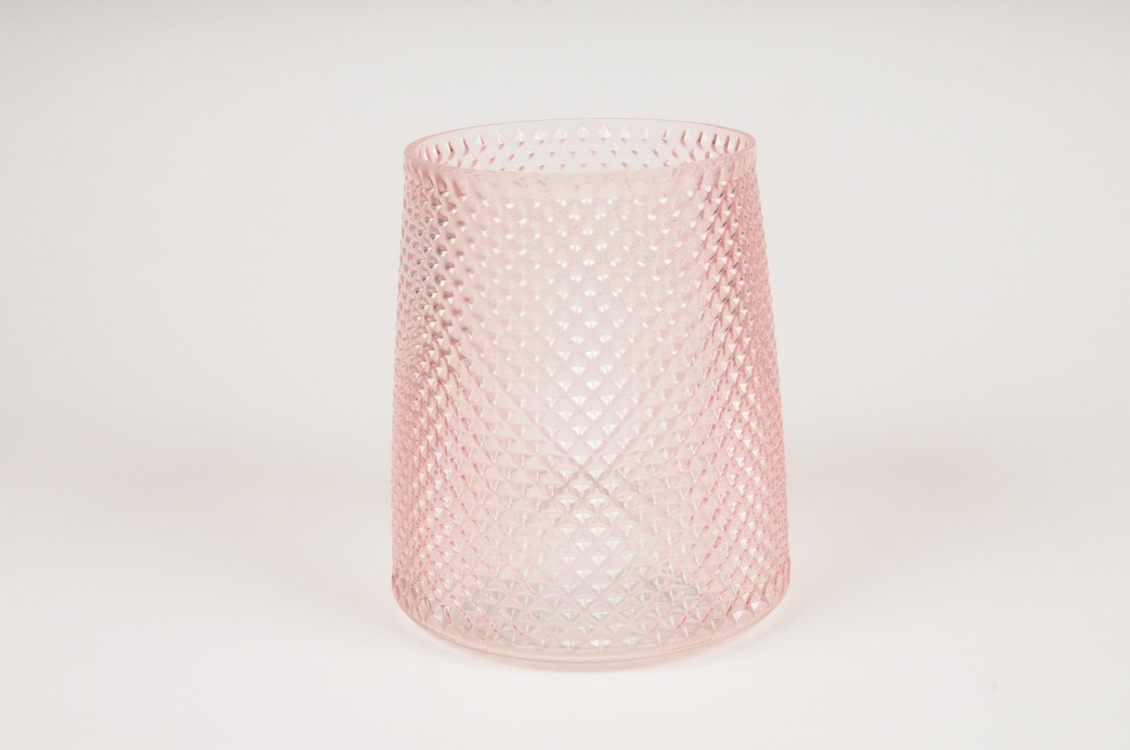B033IH Vase en verre rose D16cm H18cm