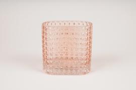 B035IH Vase rectangulaire en verre rose 15X7.5cm H15cm