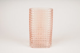 B036IH Pink rectangular glass vase 15x8cm H25.5cm