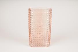 B036IH Vase rectangulaire en verre rose 15X8cm H25.5cm