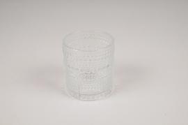 B037IH Vase en verre transparent D7.5cm H8cm