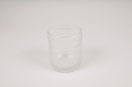 B038IH Clear glass vase D9cm H10cm