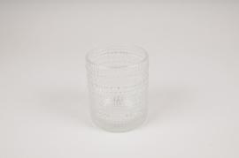 B038IH Clear glass vase D9cm H10cm