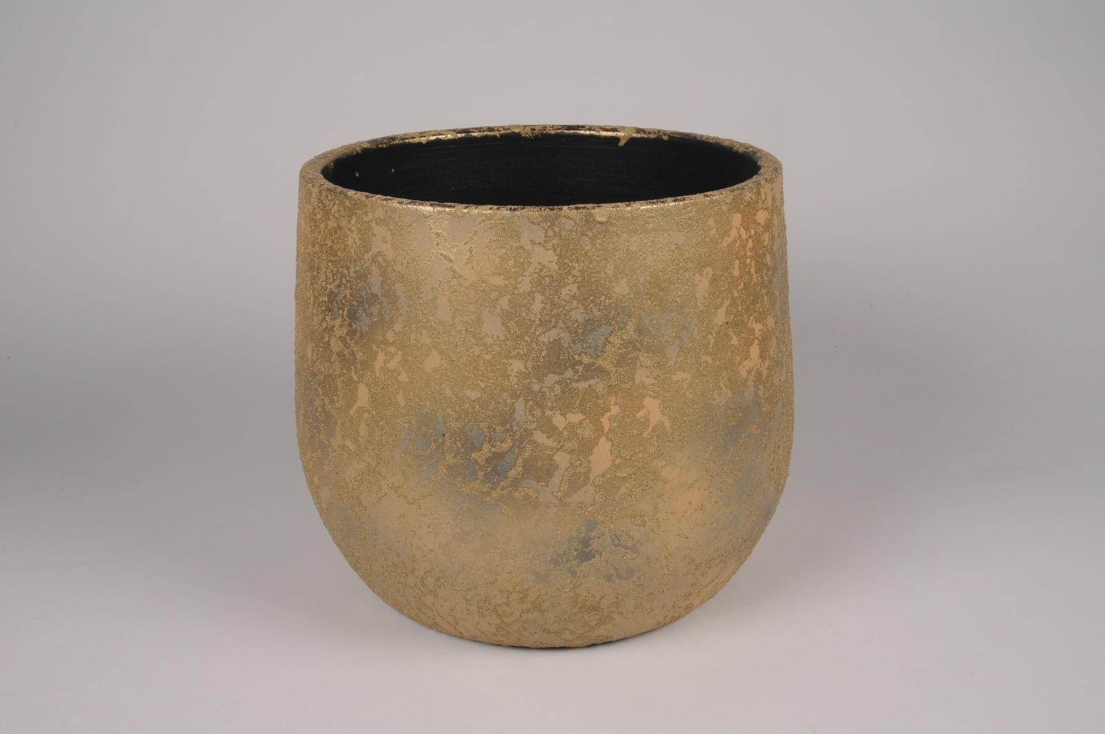 B040DQ Cache-pot en céramique or D32cm H27.5cm