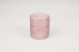B040IH Vase en verre rose D7.5cm H8cm