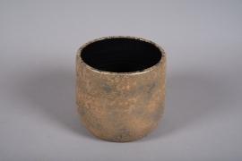 B041DQ Cache-pot en céramique or D22.5cm H21.5cm