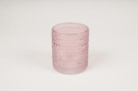 B041IH Vase en verre rose D9cm H10cm