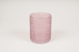B042IH Pink glass vase D10cm H12.5cm