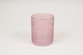 B042IH Vase en verre rose D10cm H12.5cm