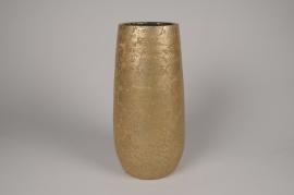 B043DQ Vase en céramique or D17.5cm H36.5cm