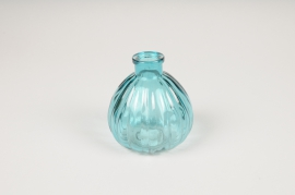 B048IH Blue glass vase D8.5cm H9.5cm