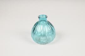 B048IH Vase en verre boule bleu D8.5cm H9.5cm