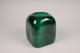 B051IH Green glass vase D16cm H18.5cm