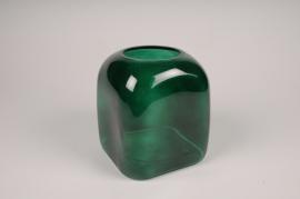 B051IH Vase en verre vert D16cm H18.5cm