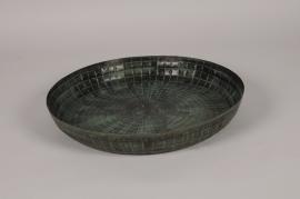 B055DQ Plateau antique en métal bronze D39cm
