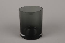 B090W3 Vase verre cylindre noir D12cm H15cm