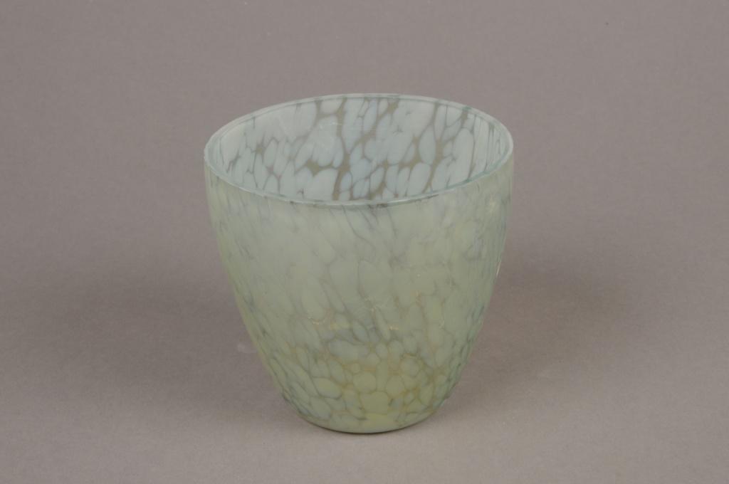 B179LE Photophore en verre vert nacré D9cm H8.5cm