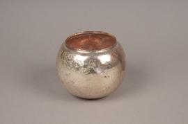 B199LE Photophore en verre boule or D13cm H10.5cm