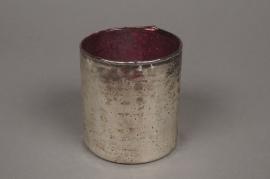 B203LE Old gold glass jar purple interior D7.5cm H8.5cm