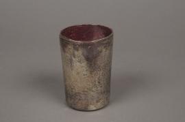 B204LE Old gold glass jar pink interior D7cm H11cm