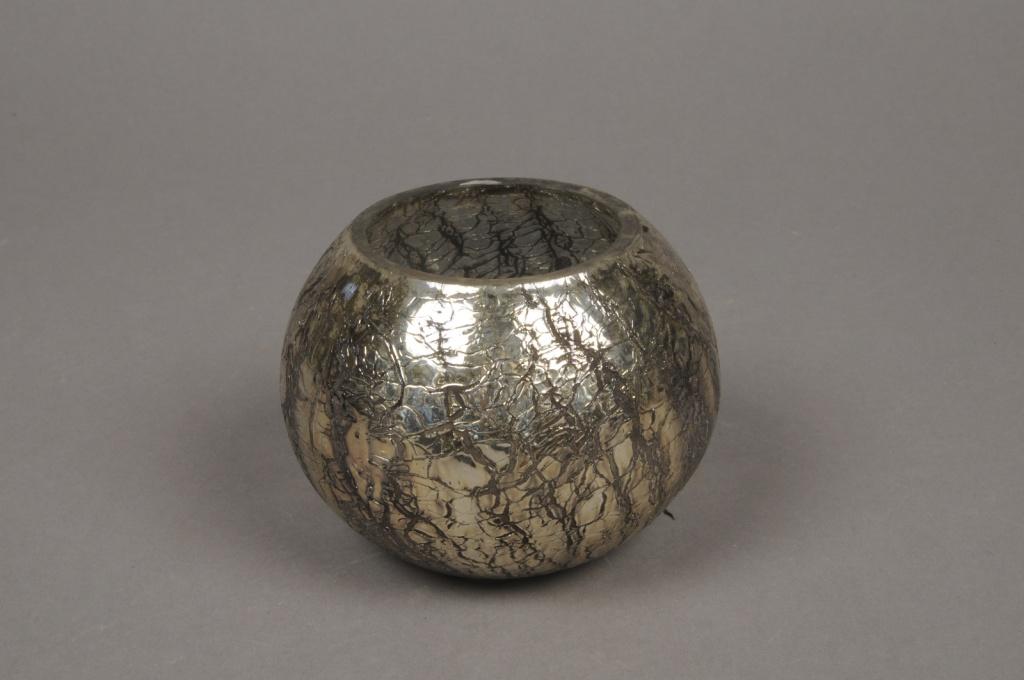B208LE Photophore en verre boule or D10cm H8.5cm