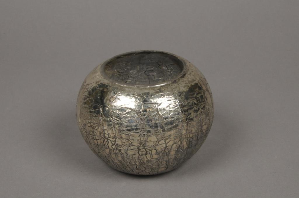 B209LE Photophore en verre boule or D12cm H9.5cm