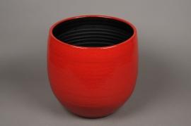 B217LE Cache-pot céramique rouge D28.5cm H31.5cm