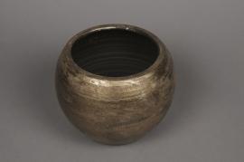 B219LE aged gold ceramic planter D20cm H15cm
