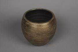 B220LE aged gold ceramic planter D23cm H19cm
