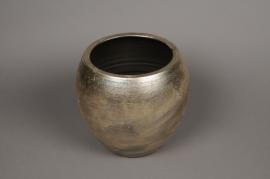 B221LE Golden silver ceramic planter D26m H23cm