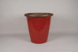 B258LE Pot en céramique émaillé rouge D55cm H54cm