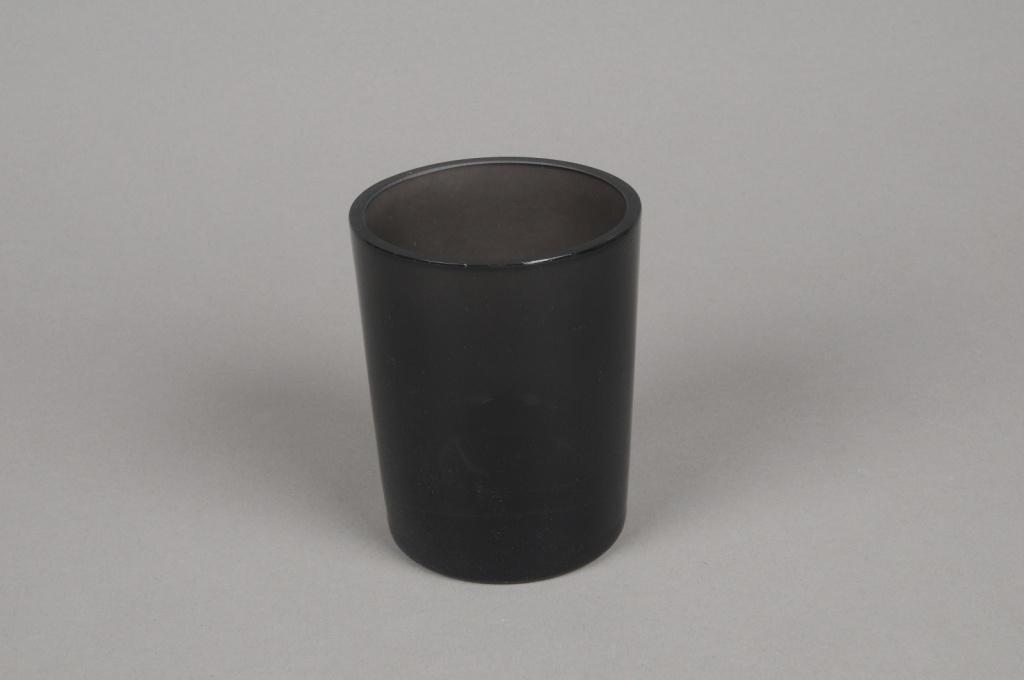 B261W3 Grey smoked glass cylinder vase D8cm H10.5cm