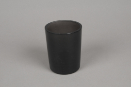 B261W3 Grey smoked glass cylinder vase D8cm H10.5cm