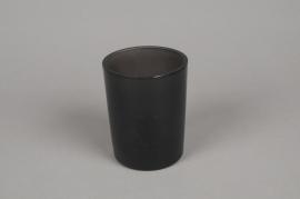 B261W3 Vase en verre gris fumé D8cm H10.5cm
