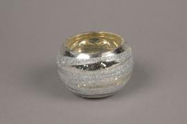 B266LE Photophore en verre boule argent D8cm H6cm
