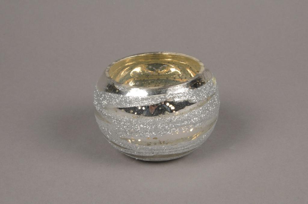 B266LE Silver glass candle jar silver D8cm H6cm