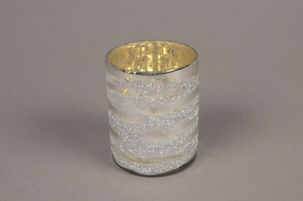 B267LE Silver glass candle jar silver D5.5cm H7cm