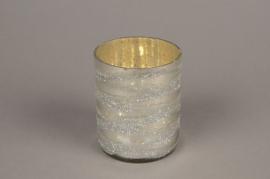 B268LE Photophore en verre argent D8cm H10.5cm