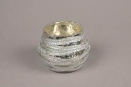 B269LE Photophore en verre boule argent D9cm H8cm