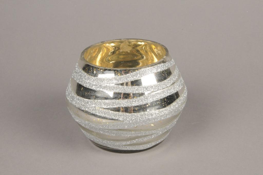 B270LE Photophore en verre boule argent D13cm H11cm
